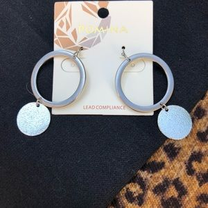 Silver Circle and Disk Dangle Earrings